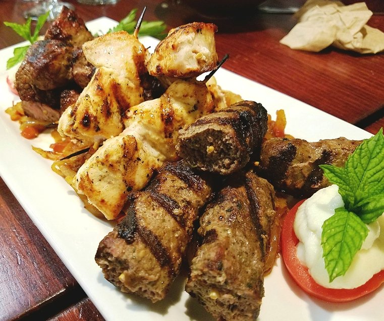 Chicken, beef and kefte kebabs at Neomonde in Raleigh - NC Triangle Dining