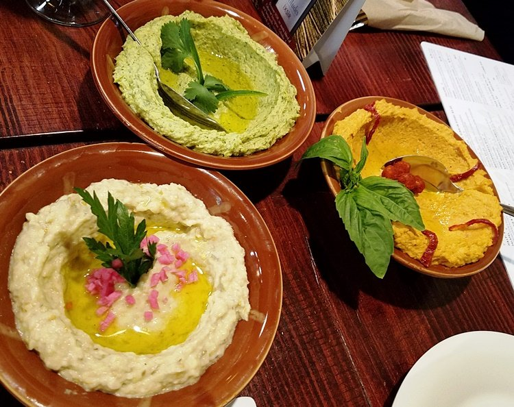 Babaghannoush and hummus plates at Neomonde in Raleigh - NC Triangle Dining