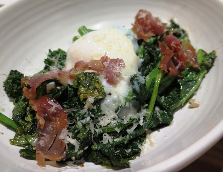 Charred rapini with country ham at Cortez Seafood - NC Triangle Dining