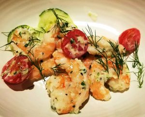 Poached shrimp w dill at Cortez Seafood in Raleigh