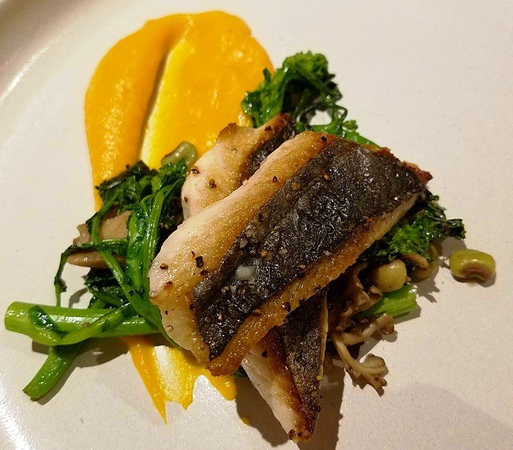 Seared mackerel with rapini at Cortez Seafood in Raleigh - NC Triangle Dining
