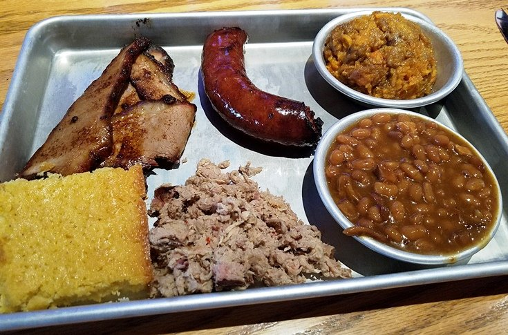 Three meat plate at Smok't BBQ & Taps in Cary - NC Triangle Dining
