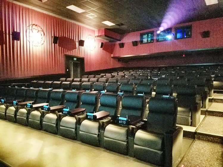Theater recliners at Alamo Drafthouse in Raleigh - nctriangledining.com
