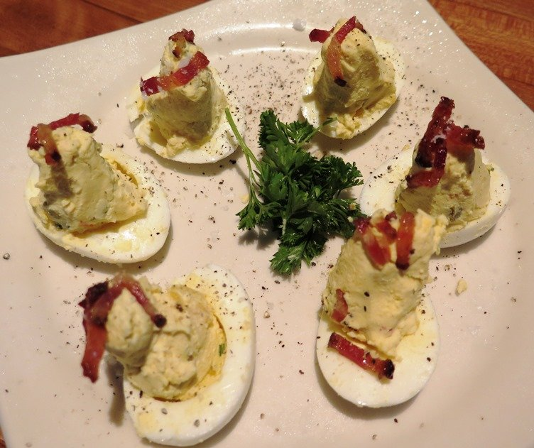Deviled eggs with candied bacon at J. Alexander's in Raleigh - NC Triangle Dining