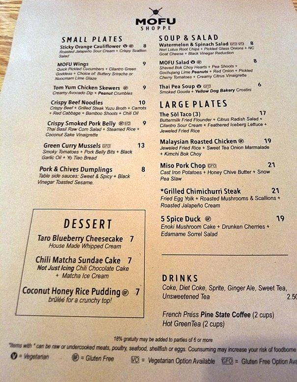 MOFU Shoppe menu - NC Triangle Dining