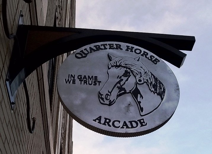 Sign at Quarter Horse Arcade in Durham - NC Triangle Dining