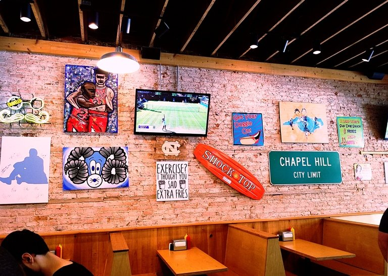 Collegiate decor at Sup Dogs in Chapel Hill - NC Triangle Dining