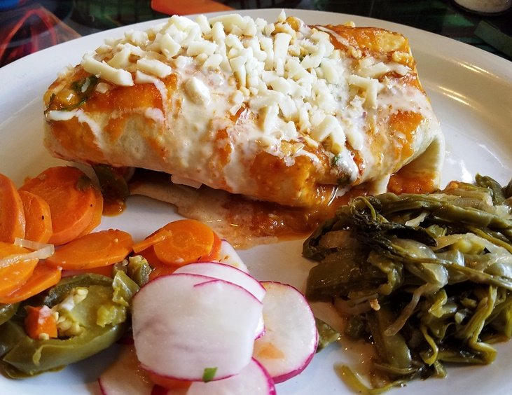 Spicy macho burrito at Las Marias Tacos y Pupusas in Raleigh - nctriangledining.com