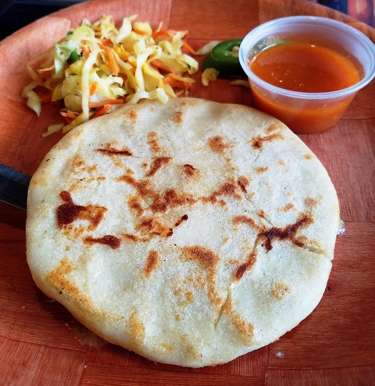 Cheese pupusa at Las Marias Tacos y Pupusas in Raleigh - nctriangledining.com