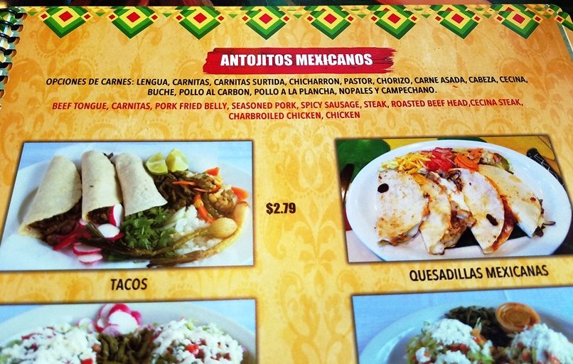 Meat choices at Las Marias Tacos y Pupusas in Raleigh - nctriangledining.com