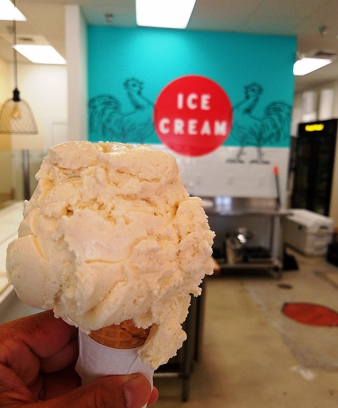 Sola cinnamon donut cone at Two Roosters Ice Cream in N. Raleigh - nctriangledining.com