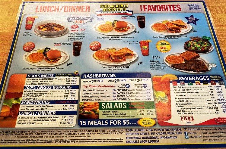 Waffle House menu - nctriangledining.com