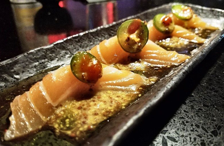 Salmon crudo at Sono Sushi in Raleigh - nctriangledining.com