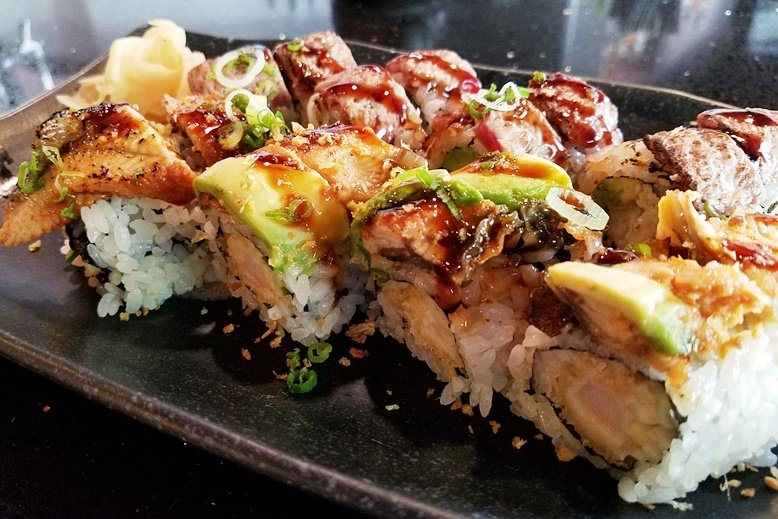Dancing eel and Surf n Turf rolls at Sono Sushi in Raleigh - nctriangledining.com