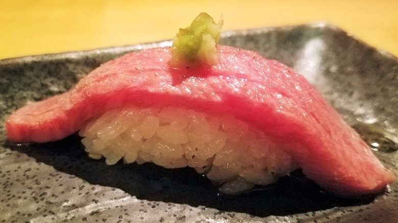 Wagyu beef over sushi rice at Sono Sushi in Raleigh - nctriangledining.com