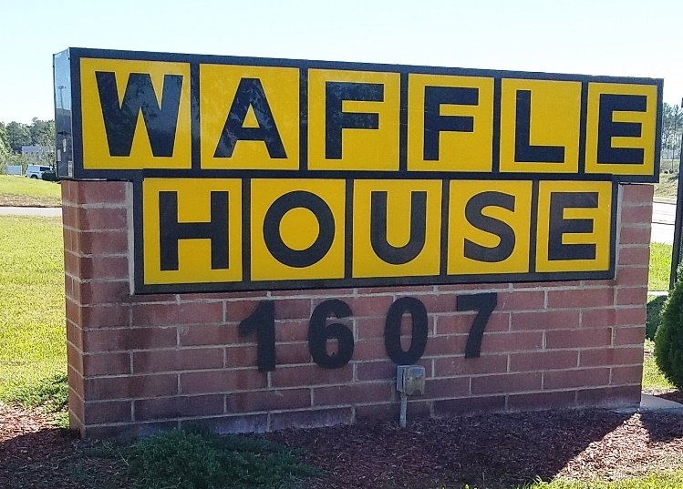 Iconic sign at S. Miami Blvd Waffle House in Durham - nctriangledining.com