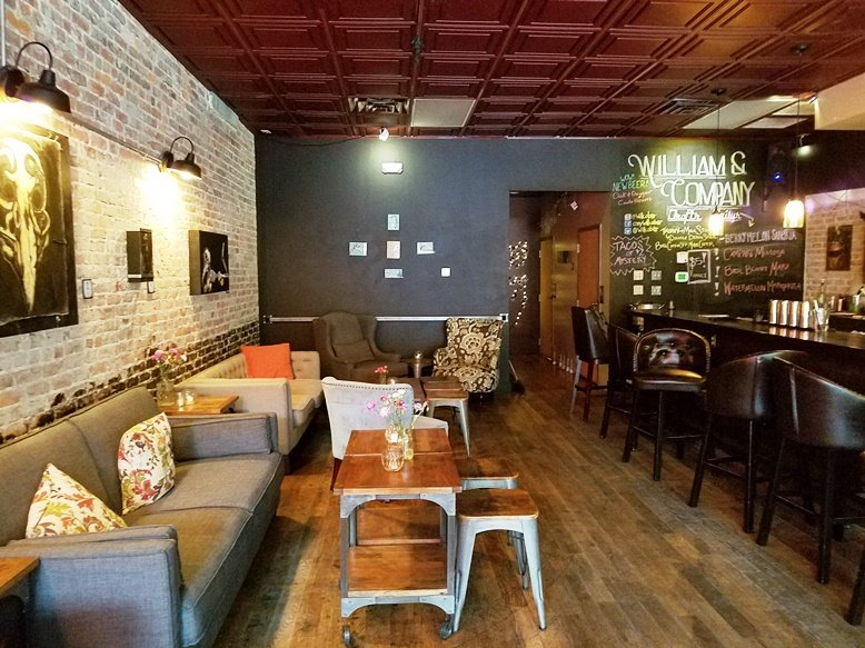 Lounge and couches at William & Company in Raleigh - nctriangledining.com