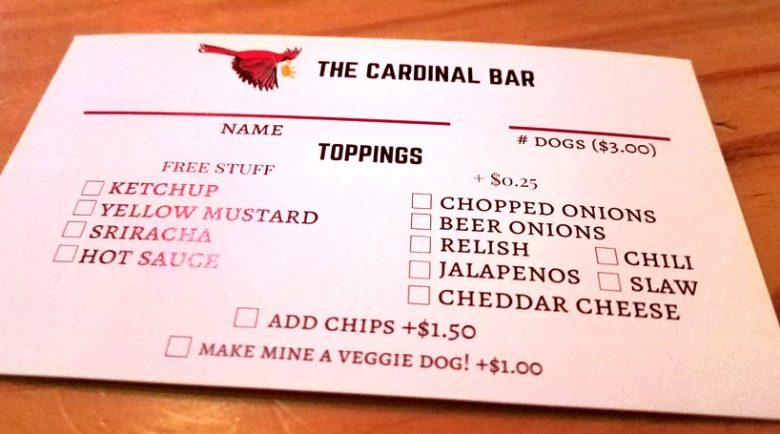 Hot dog order card at the Cardinal Bar in Raleigh - nctriangledining.com