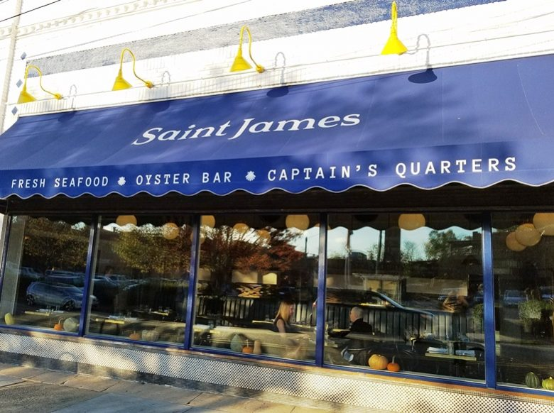 Front of Saint James Seafood Restaurant in Durham - nctriangledining.com