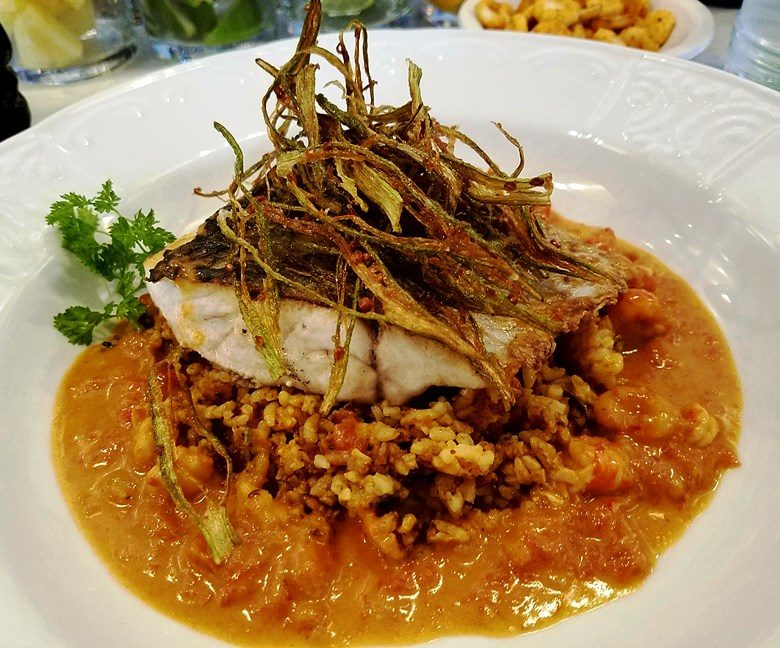 Red drum with crawfish butter at Saint James Seafood Restaurant in Durham - nctriangledining.com