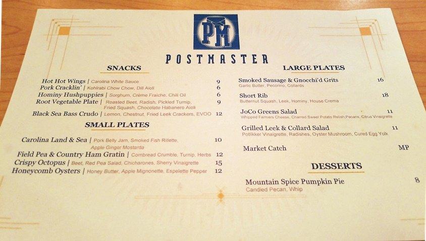 Sample dinner menu at Postmaster in Cary - nctriangledining.com