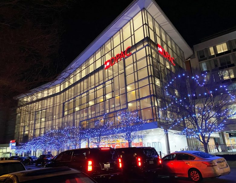 The Durham Performing Arts Center at dusk - nctriangledining.com