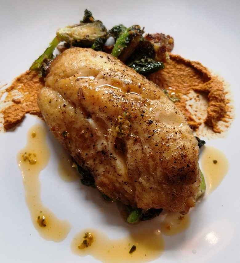Triggerfish and brussels sprouts at Postal Fish Company in Pittsboro - nctriangledining.com