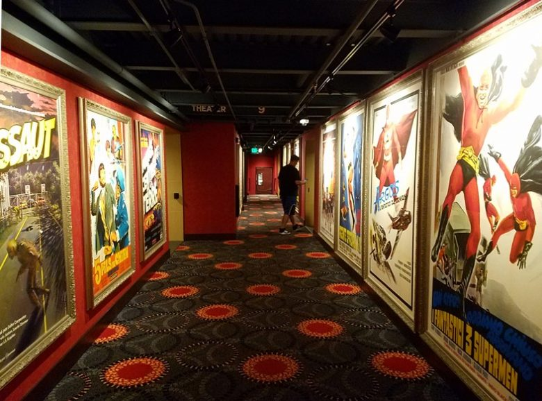 Colorful hallways at Alamo Drafthouse in Raleigh - nctriangledining.com