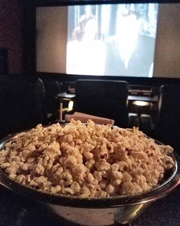 Popcorn with herbs and parmesan cheese at Alamo Drafthouse in Raleigh - nctriangledining.com