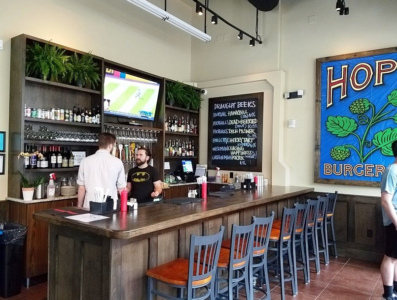 Bar at Hops Burger Bar in Chapel Hill - nctriangledining.com