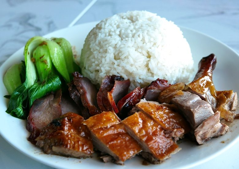 Roast duck and pork rice plate at Peking Duck & Dumplings in Raleigh - nctriangledining.com