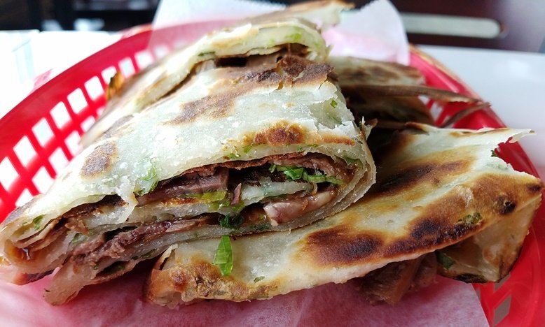 Scallion pancakes with beef at Peking Duck & Dumplings in Raleigh - nctriangledining.com