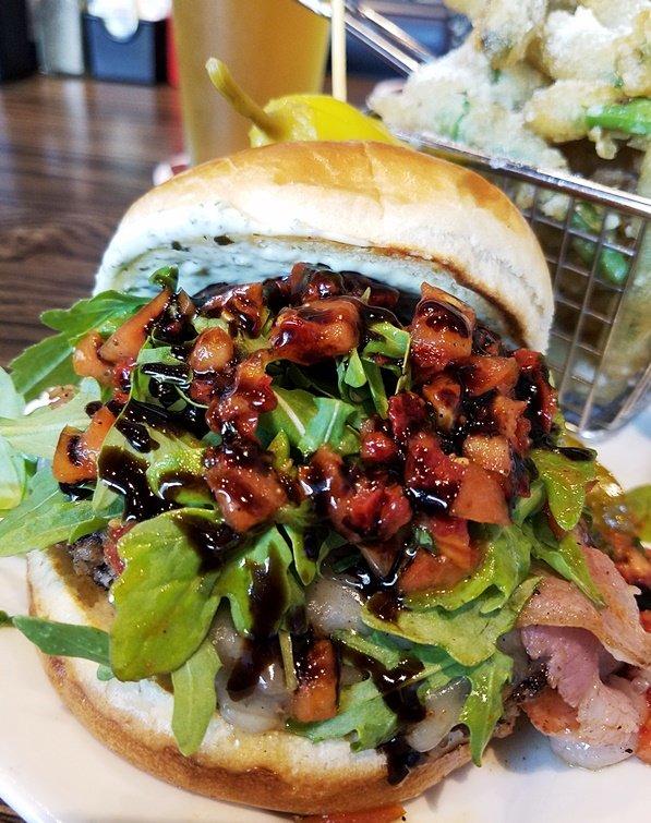 Caprese burger at Hops Burger Bar in Chapel Hill - nctriangledining.com