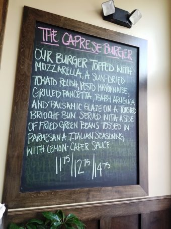 Specials board at Hops Burger Bar in Chapel Hill - nctriangledining.com