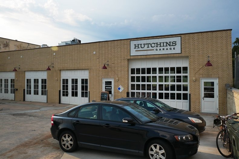 Front of Hutchins Garage in Durham - nctriangledining.com