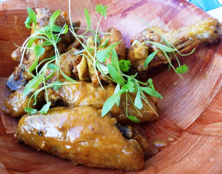 Confit chicken wings with peanut satay sauce at Eastcut Sandwich Bar in Durham - nctriangledining.com