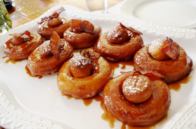 Maple bacon donuts with vanilla custard at Lula's in Chapel Hill, NC - nctriangledining.com
