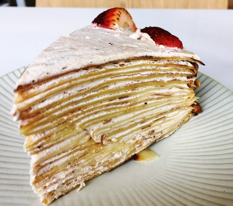Sakura crepe cake at Heirloom Brewshop in Raleigh - nctriangledining.com