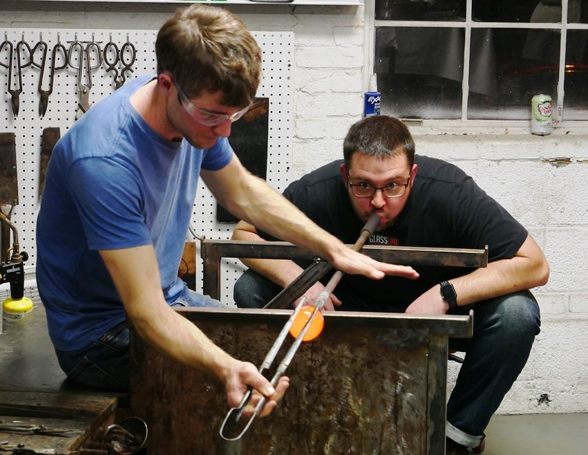 Glass blowing with Elijah at Feast from the Furnace at Liberty Arts in Durham - nctriangledining.com