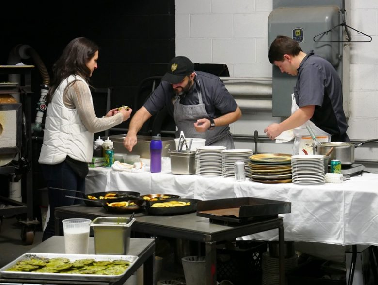 Chef Tyler prepping the meal at Feast from the Furnace at Liberty Arts in Durham - nctriangledining.com