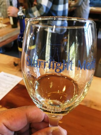 Tasting glass at Starrlight Mead in Pittsboro - nctriangledining.com