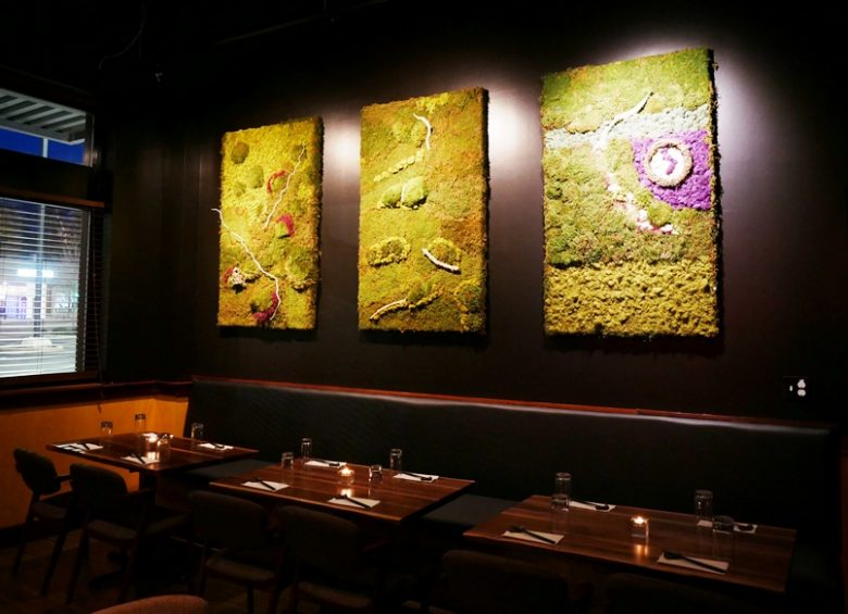 Live moss hanging at Sushi Mon in Raleigh - nctriangledining.com