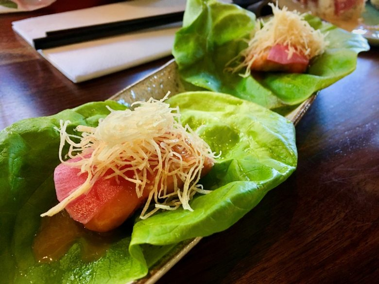 Seared salmon lettuce wrap at Sushi Mon in Raleigh - nctriangledining.com