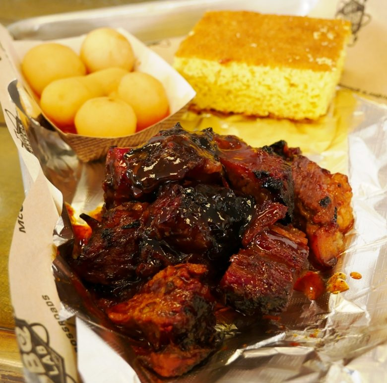 Burnt ends with barbeque potatoes at Redneck BBQ Lab in Benson - nctriangledining.com