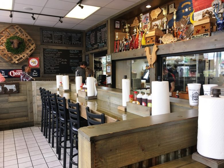 Order area and awards at Redneck BBQ Lab in Benson - nctriangledining.com