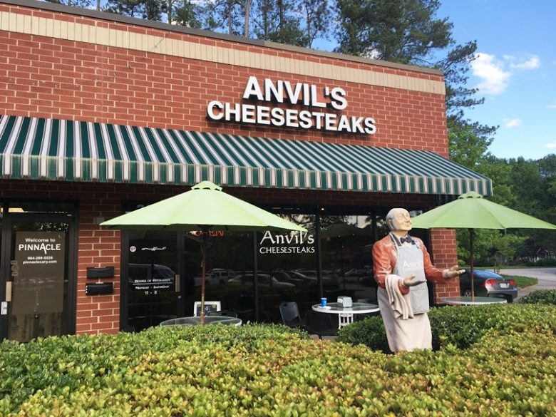Front of Anvil's Cheesesteaks in Raleigh