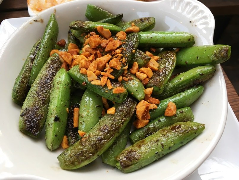 Charred sugar snap peas at Barcelona Wine Bar, Raleigh - nctriangledining.com
