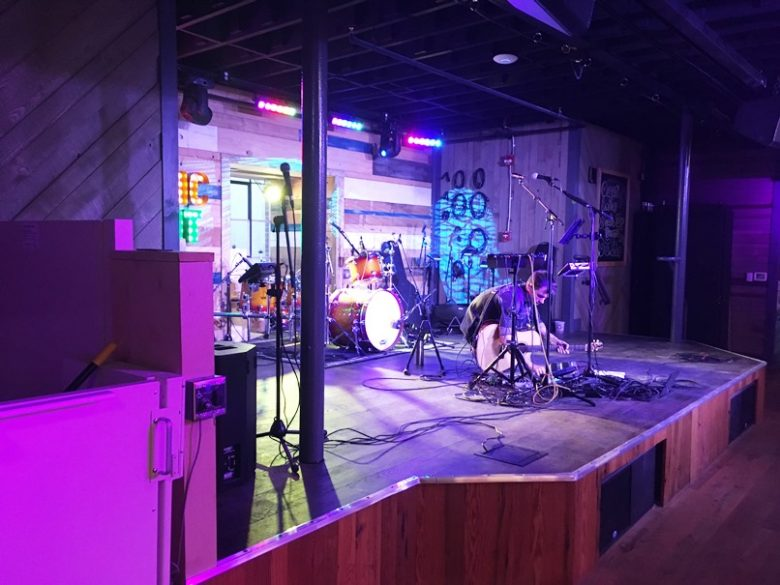 Live music stage at Tin Roof in Raleigh - nctriangledining.com