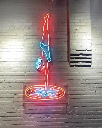 Neon diver at Poole'side Pies in Raleigh - nctriangledining.com