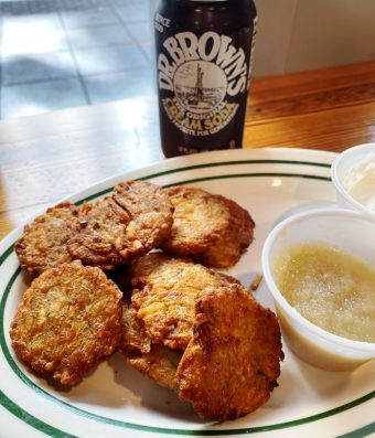 Latkes with apple sauce at Reuben's NY Deli in Raleigh - nctriangledining.com